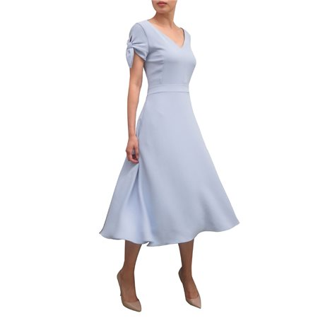Fee G Swing Dress With Bow Sleeves Blue  - Click to view a larger image