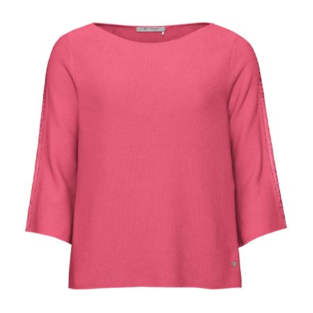Monari Knitted Jumper With Slogan Sleeves Pink  - Click to view a larger image