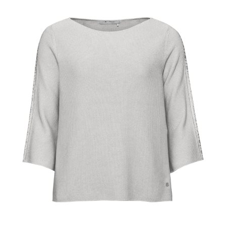 Monari Knitted Jumper With Slogan Sleeves Grey  - Click to view a larger image
