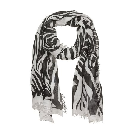 Monari Animal Print Scarf With Frayed Edging Black  - Click to view a larger image