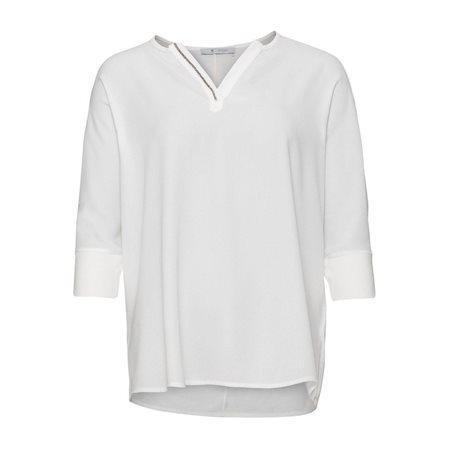 Monari Blouse With Diamante Neckline White  - Click to view a larger image