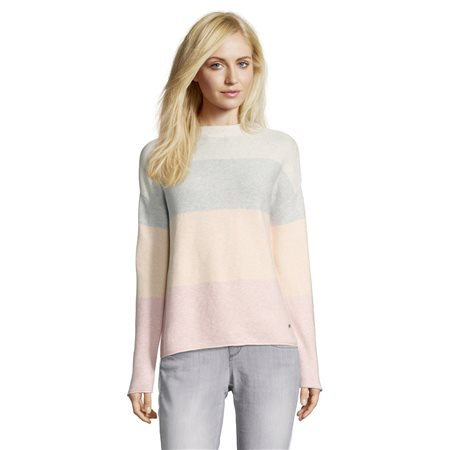 Betty & Co Cotton Colour Block Jumper Silver  - Click to view a larger image