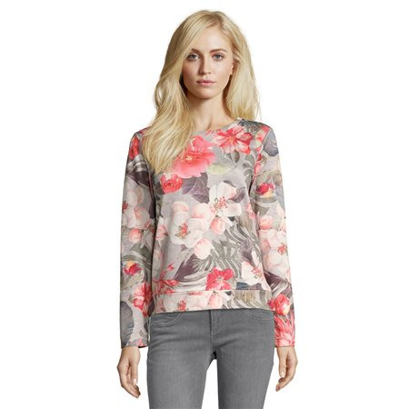 Betty & Co Floral Printed Jumper Silver  - Click to view a larger image