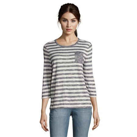 Betty & Co Striped Pocket Top Blue  - Click to view a larger image