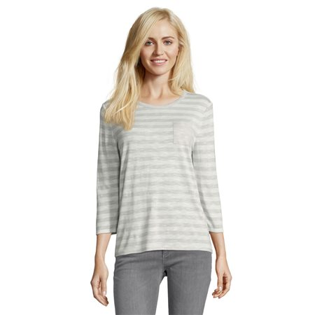 Betty & Co Striped Pocket Top Silver  - Click to view a larger image