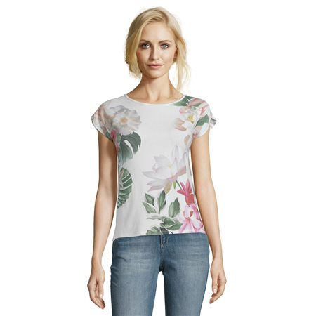 Betty & Co Floral And Striped Top White  - Click to view a larger image