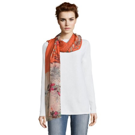 Betty & Co Floral Print Scarf Orange  - Click to view a larger image