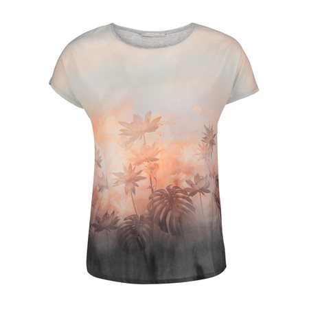 Betty & Co Floral Print Blended Top Pink  - Click to view a larger image