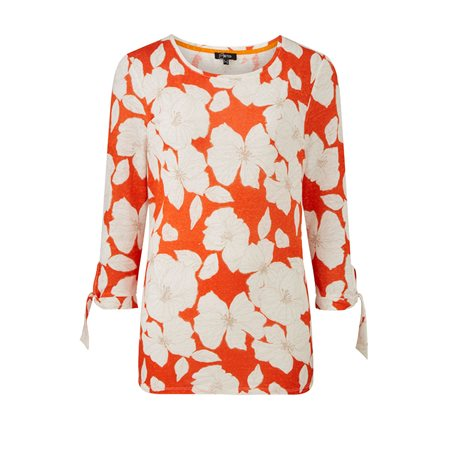 Emreco Floral Print Top Orange  - Click to view a larger image