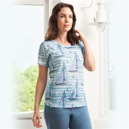 Emreco Sailing Print Top Blue  - Click to view a larger image