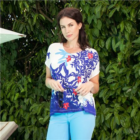 Emreco Floral Design Top Navy  - Click to view a larger image