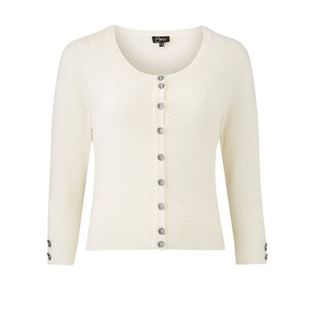 Emreco Roundneck Cardigan White  - Click to view a larger image
