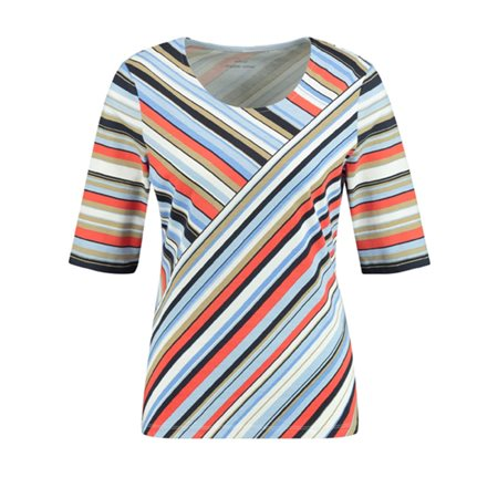 Gerry Weber Striped Abstract Top Blue  - Click to view a larger image