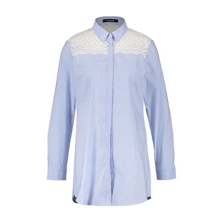 Taifun Striped Shirt With Embroidery Blue  - Click to view a larger image