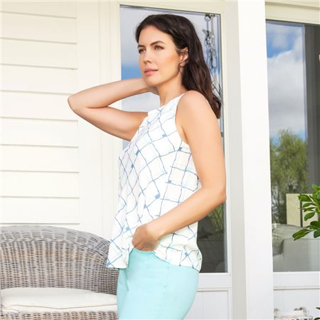 Emreco Sleeveless Check Top Blue  - Click to view a larger image