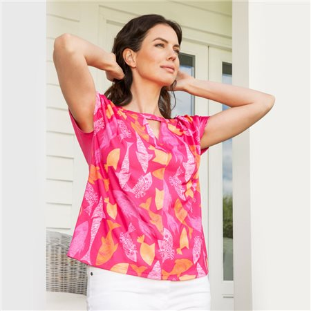 Emreco Fish Print Top Pink  - Click to view a larger image