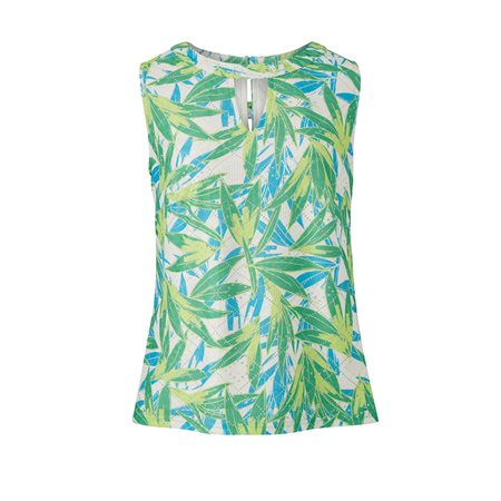 Emreco Leaf Print Sleevless Top Green  - Click to view a larger image