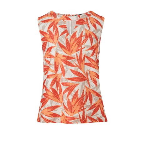 Emreco Leaf Print Sleevless Top Orange  - Click to view a larger image