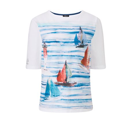 Emreco Boat Print Top Navy  - Click to view a larger image