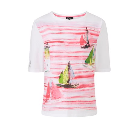 Emreco Boat Print Top Pink  - Click to view a larger image