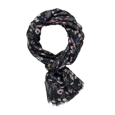 Taifun Fine Floral Print Scarf Black  - Click to view a larger image