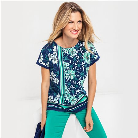 Olsen Floral Print Top With Bold Stripe Blue  - Click to view a larger image
