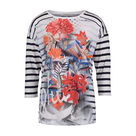 Betty Barclay Striped Floral Top Dark Blue  - Click to view a larger image