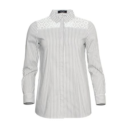 Taifun Striped Shirt With Embroidery Cream  - Click to view a larger image