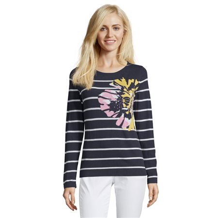 Betty Barclay Striped Floral Jumper Dark Blue  - Click to view a larger image