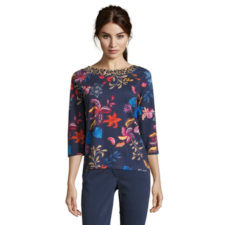 Betty Barclay Floral Top With Animal Print Neckline Dark Blue  - Click to view a larger image