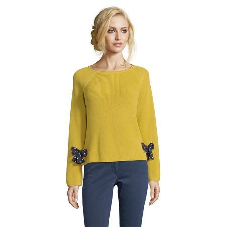 Betty Barclay Knitted Jumper With Spotted Ties Yellow  - Click to view a larger image
