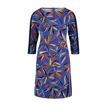 Betty Barclay Leaf Print Dress Blue  - Click to view a larger image