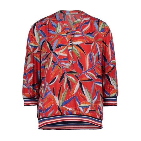 Betty Barclay Vibrant Leaf Print Blouse Red  - Click to view a larger image