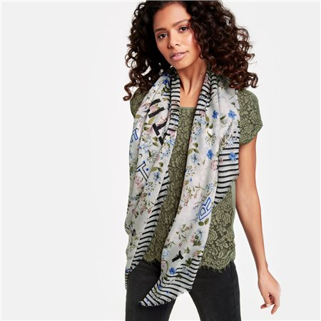 Taifun Scarf With Printed Flowers And Stripes Cream  - Click to view a larger image