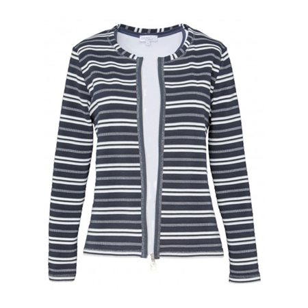 Erfo Zip Striped Jacket Navy  - Click to view a larger image