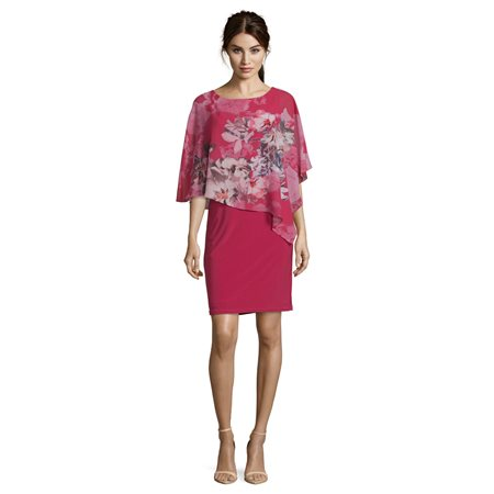 Vera Mont Floral Cape Dress Pink  - Click to view a larger image