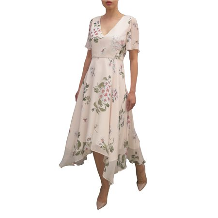 Fee G Floral Dress With Dipped Hem Pink  - Click to view a larger image