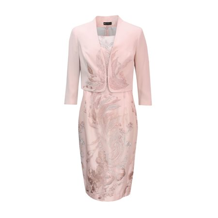 Rosa Clara Dress And Jacket With Embroidered Leaf Embellishment Pink  - Click to view a larger image
