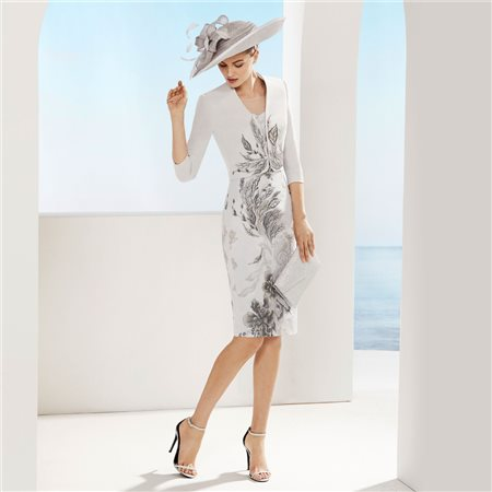 Rosa Clara Dress And Jacket With Embroidered Leaf Embellishment Silver  - Click to view a larger image