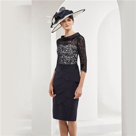 Rosa Clara Dress With Lace Overlay Navy  - Click to view a larger image