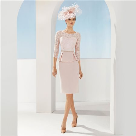 Rosa Clara Peplum Dress With Lace Top Pink  - Click to view a larger image