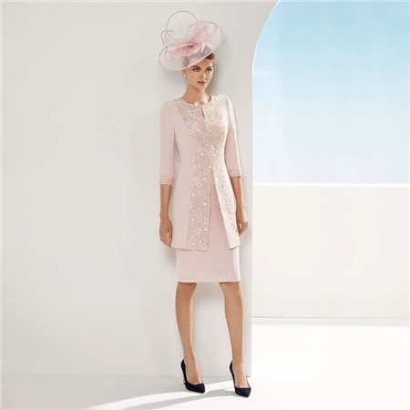 Rosa Clara Lace Topped Dress And Coat Pink  - Click to view a larger image
