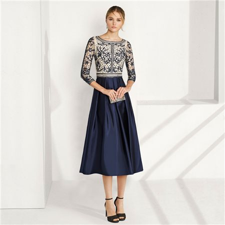 Rosa Clara Dress With Beaded Top Navy  - Click to view a larger image