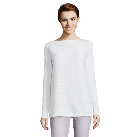 Betty & Co Ribbed Jumper White  - Click to view a larger image