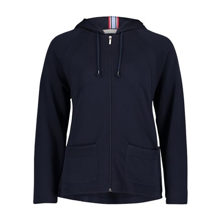 Betty & Co Fine Ribbed Hoodie Navy  - Click to view a larger image