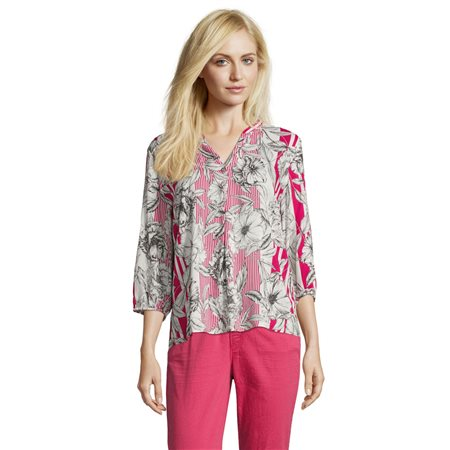 Betty & Co Floral Print Blouse Pink  - Click to view a larger image