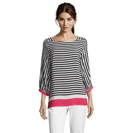 Betty & Co Striped Blouse White  - Click to view a larger image