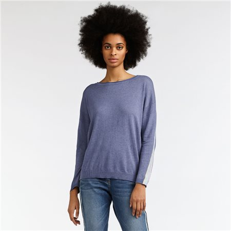 Sandwich Jumper With Stripe Sleeve Lilac  - Click to view a larger image