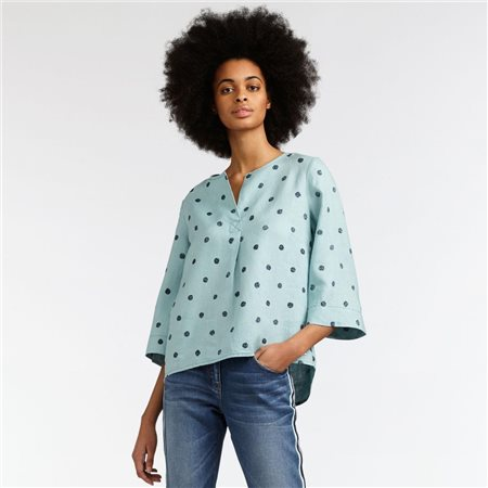 Sandwich Linen Dot Top Green  - Click to view a larger image