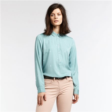 Sandwich Blouse With Fine Dot Print Green  - Click to view a larger image